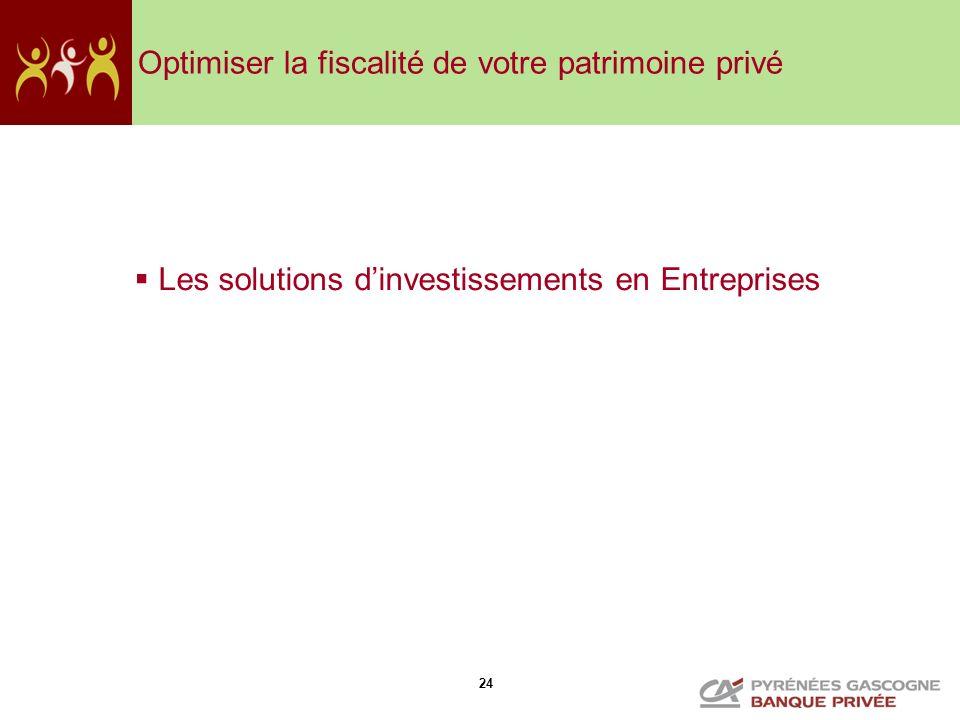 24 Optimiser la fiscalité de votre patrimoine privé Les solutions dinvestissements en Entreprises
