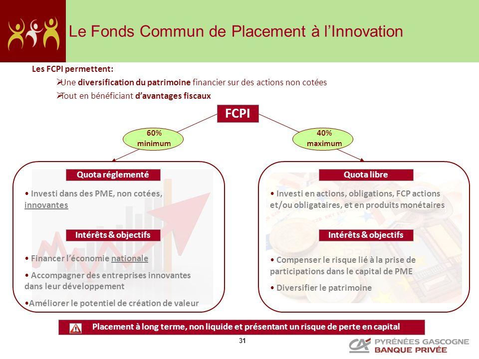 31 Le Fonds Commun de Placement à lInnovation Les FCPI permettent: Une diversification du patrimoine financier sur des actions non cotées Tout en béné