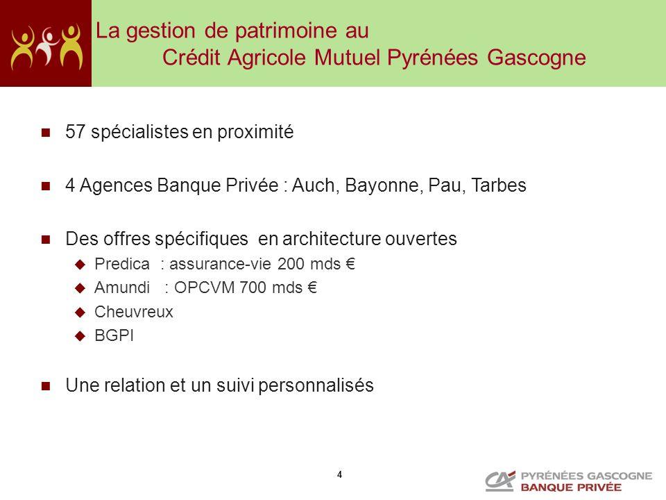 4 La gestion de patrimoine au Crédit Agricole Mutuel Pyrénées Gascogne 57 spécialistes en proximité 4 Agences Banque Privée : Auch, Bayonne, Pau, Tarb
