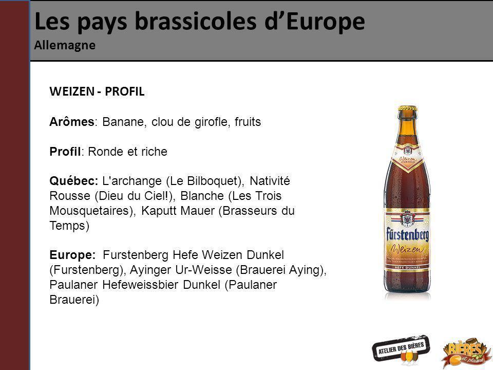 Les pays brassicoles dEurope Allemagne WEIZEN - PROFIL Arômes: Banane, clou de girofle, fruits Profil: Ronde et riche Québec: L'archange (Le Bilboquet