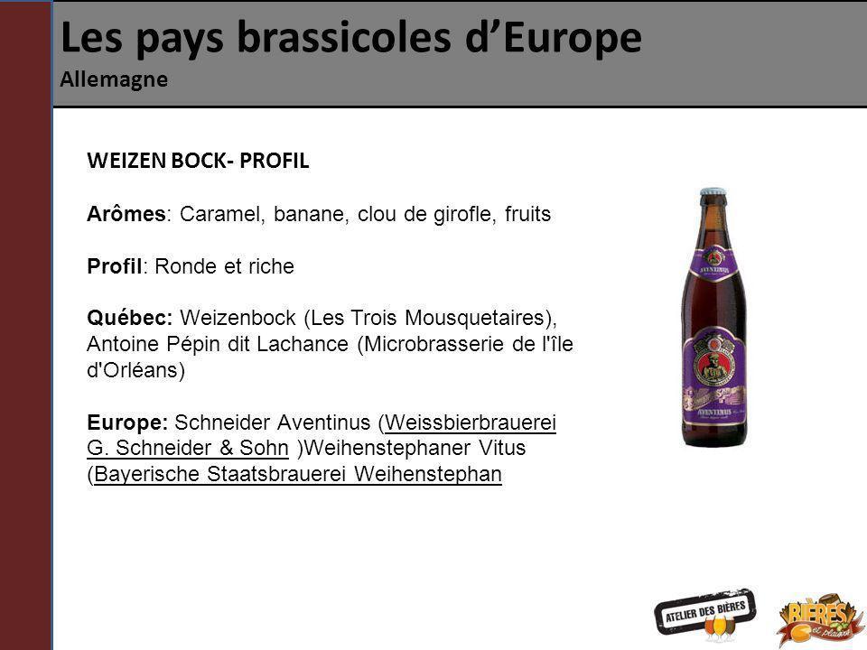 Les pays brassicoles dEurope Allemagne WEIZEN BOCK- PROFIL Arômes: Caramel, banane, clou de girofle, fruits Profil: Ronde et riche Québec: Weizenbock