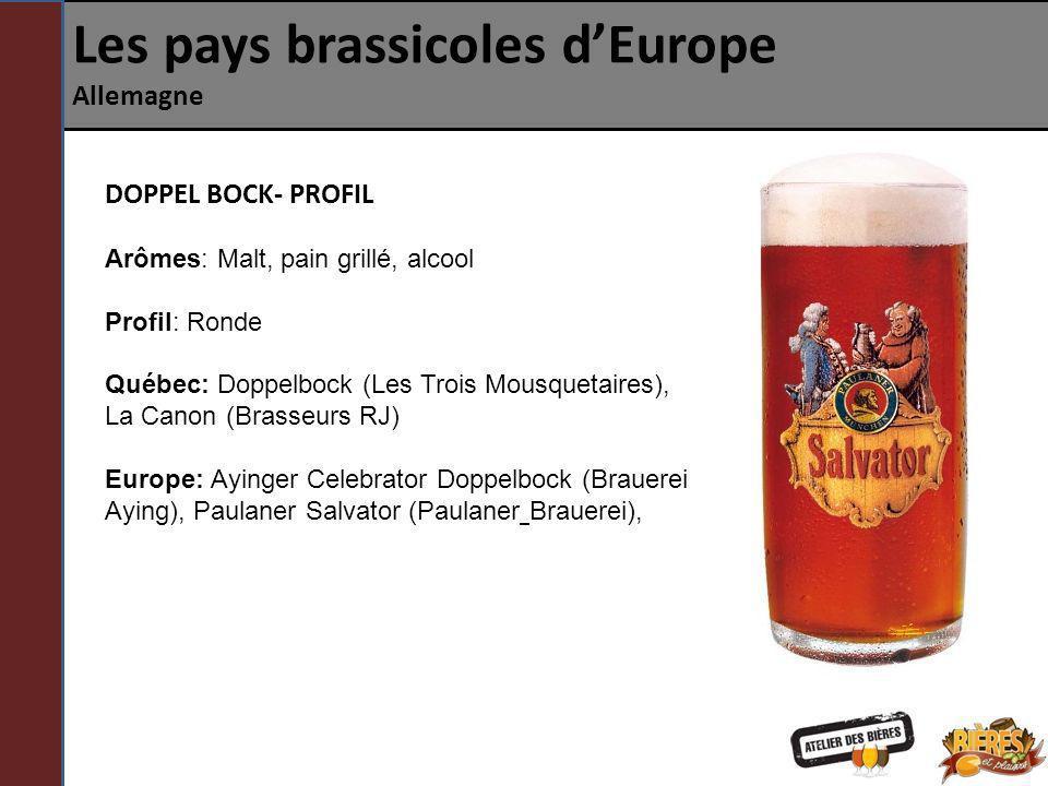 Les pays brassicoles dEurope Allemagne DOPPEL BOCK- PROFIL Arômes: Malt, pain grillé, alcool Profil: Ronde Québec: Doppelbock (Les Trois Mousquetaires
