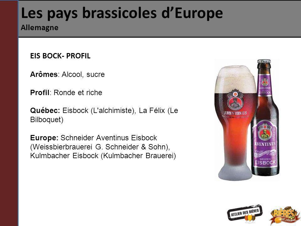 Les pays brassicoles dEurope Allemagne EIS BOCK- PROFIL Arômes: Alcool, sucre Profil: Ronde et riche Québec: Eisbock (L'alchimiste), La Félix (Le Bilb