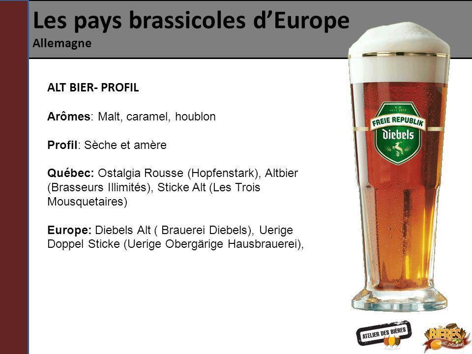 Les pays brassicoles dEurope Allemagne ALT BIER- PROFIL Arômes: Malt, caramel, houblon Profil: Sèche et amère Québec: Ostalgia Rousse (Hopfenstark), A
