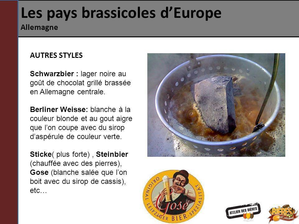 Les pays brassicoles dEurope Allemagne AUTRES STYLES Schwarzbier : lager noire au goût de chocolat grillé brassée en Allemagne centrale. Berliner Weis