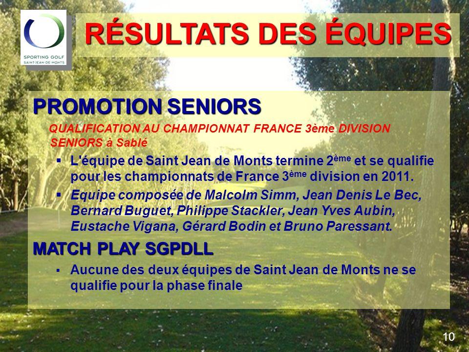 PROMOTION SENIORS QUALIFICATION AU CHAMPIONNAT FRANCE 3ème DIVISION SENIORS à Sablé L'équipe de Saint Jean de Monts termine 2 ème et se qualifie pour