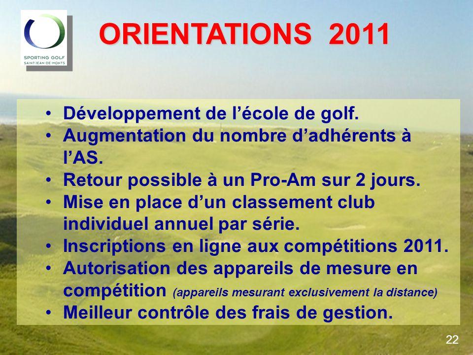 ORIENTATIONS 2011 ORIENTATIONS 2011 Développement de lécole de golf. Augmentation du nombre dadhérents à lAS. Retour possible à un Pro-Am sur 2 jours.