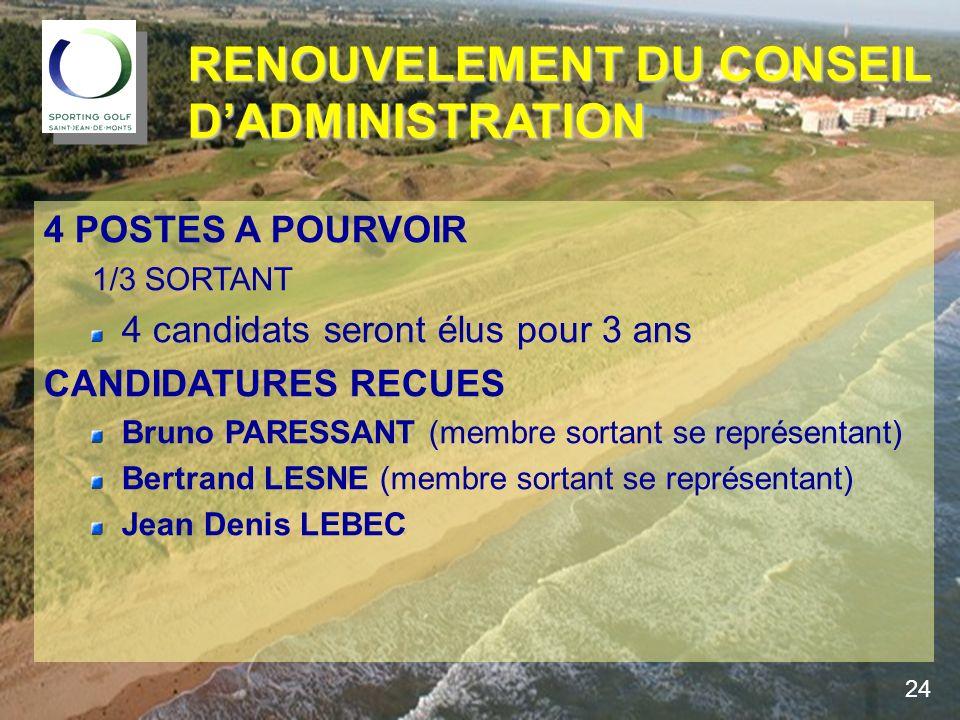 4 POSTES A POURVOIR 1/3 SORTANT 4 candidats seront élus pour 3 ans CANDIDATURES RECUES Bruno PARESSANT (membre sortant se représentant) Bertrand LESNE