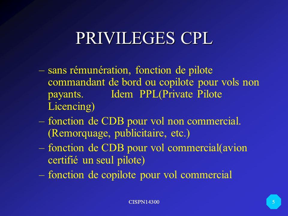 CISPN14300 5 PRIVILEGES CPL –sans rémunération, fonction de pilote commandant de bord ou copilote pour vols non payants.Idem PPL(Private Pilote Licenc