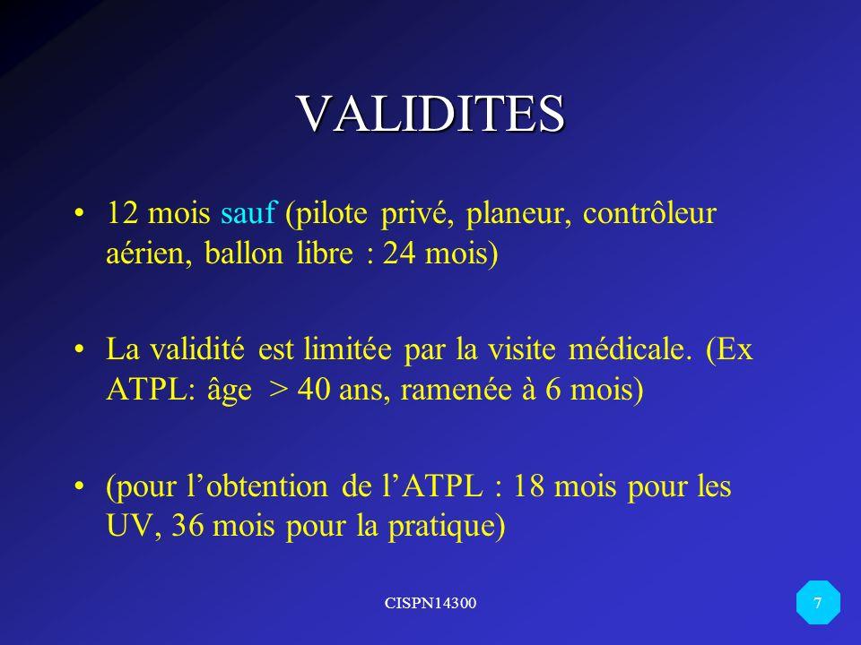 CISPN14300 7 VALIDITES 12 mois sauf (pilote privé, planeur, contrôleur aérien, ballon libre : 24 mois) La validité est limitée par la visite médicale.
