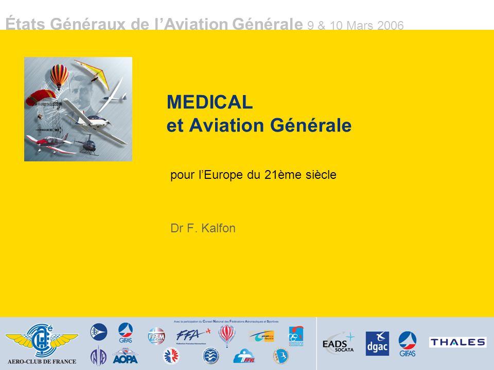 États Généraux de lAviation Générale 9 & 10 Mars 2006 MEDICAL et Aviation Générale pour lEurope du 21ème siècle Dr F. Kalfon