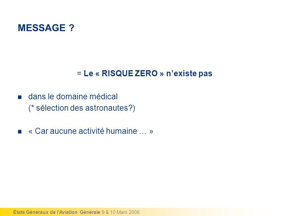 États Généraux de lAviation Générale 9 & 10 Mars 2006 MESSAGE ? = Le « RISQUE ZERO » nexiste pas dans le domaine médical (* sélection des astronautes?