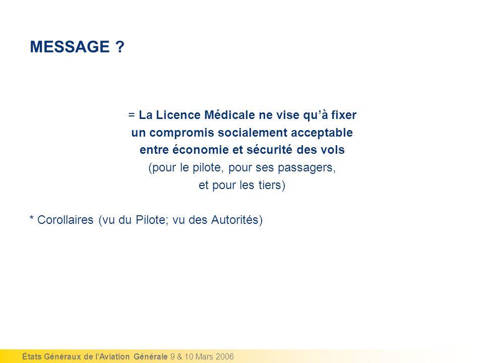 États Généraux de lAviation Générale 9 & 10 Mars 2006 MESSAGE ? = La Licence Médicale ne vise quà fixer un compromis socialement acceptable entre écon