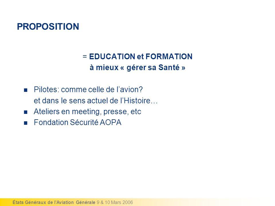 États Généraux de lAviation Générale 9 & 10 Mars 2006 PROPOSITION = EDUCATION et FORMATION à mieux « gérer sa Santé » Pilotes: comme celle de lavion?