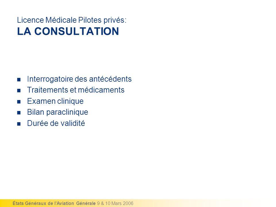États Généraux de lAviation Générale 9 & 10 Mars 2006 Licence Médicale Pilotes privés: LA CONSULTATION Interrogatoire des antécédents Traitements et m