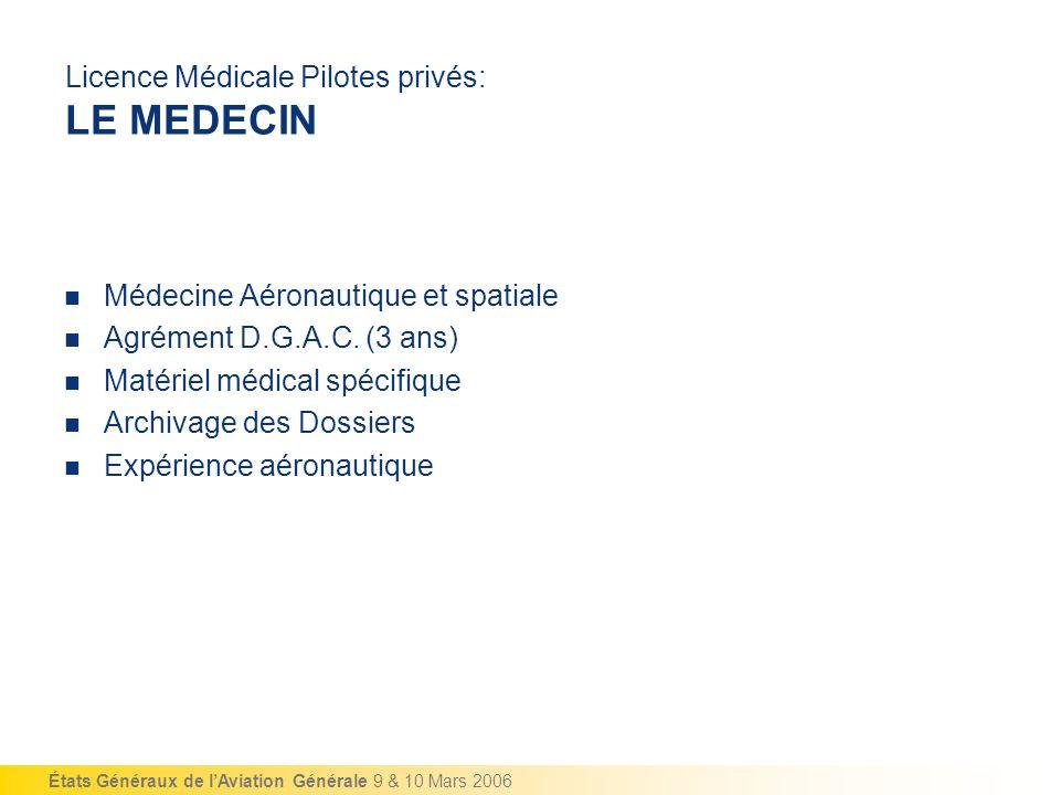 États Généraux de lAviation Générale 9 & 10 Mars 2006 Licence Médicale Pilotes privés: LE MEDECIN Médecine Aéronautique et spatiale Agrément D.G.A.C.