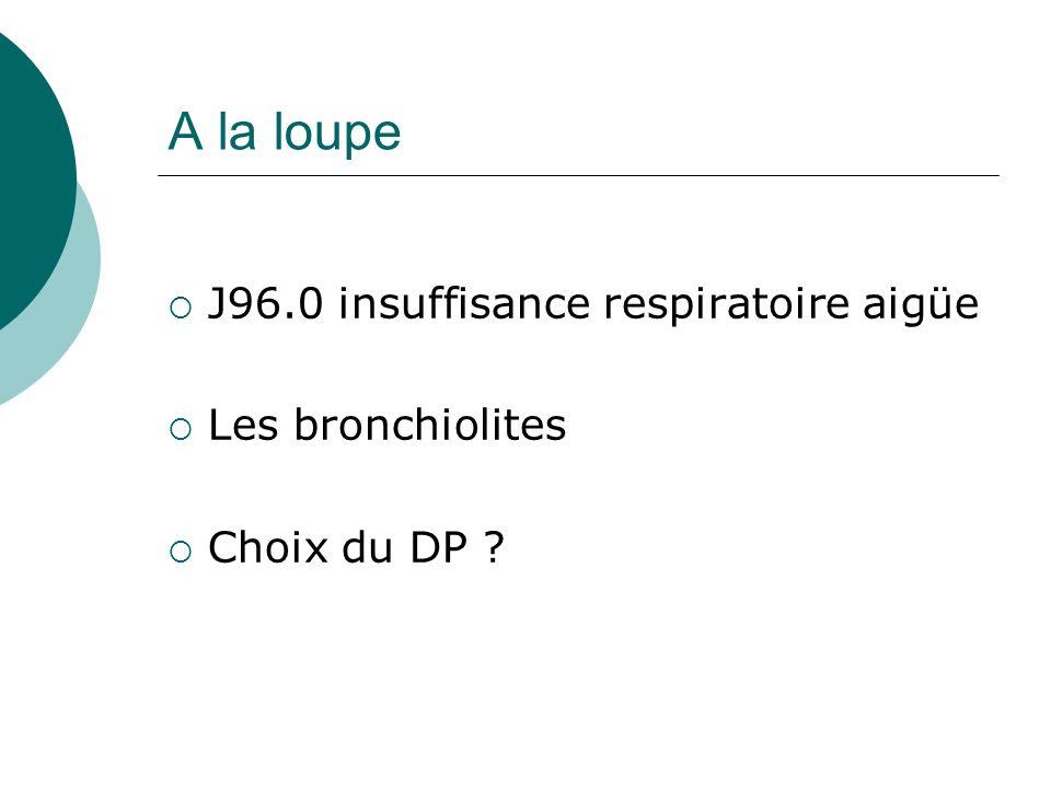 A la loupe J96.0 insuffisance respiratoire aigüe Les bronchiolites Choix du DP ?