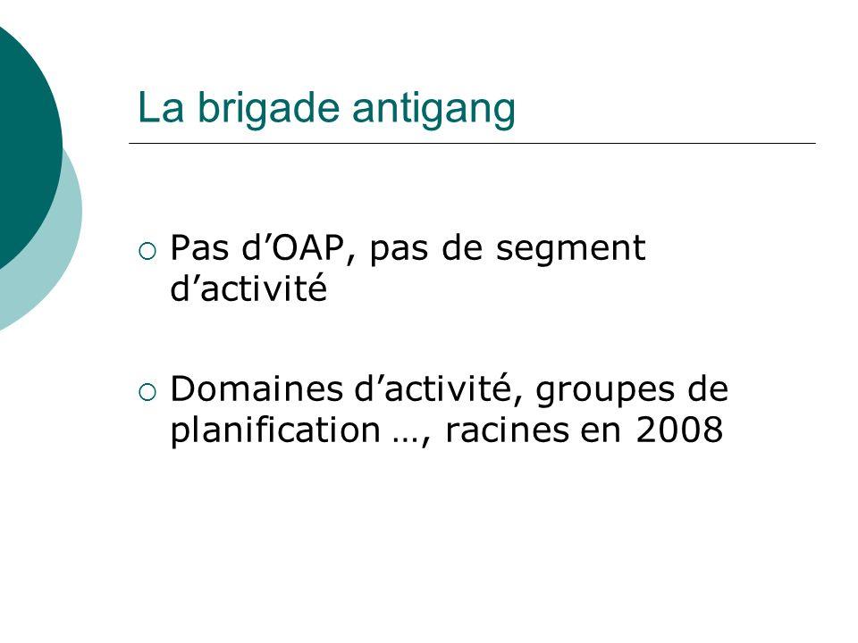 La brigade antigang Pas dOAP, pas de segment dactivité Domaines dactivité, groupes de planification …, racines en 2008