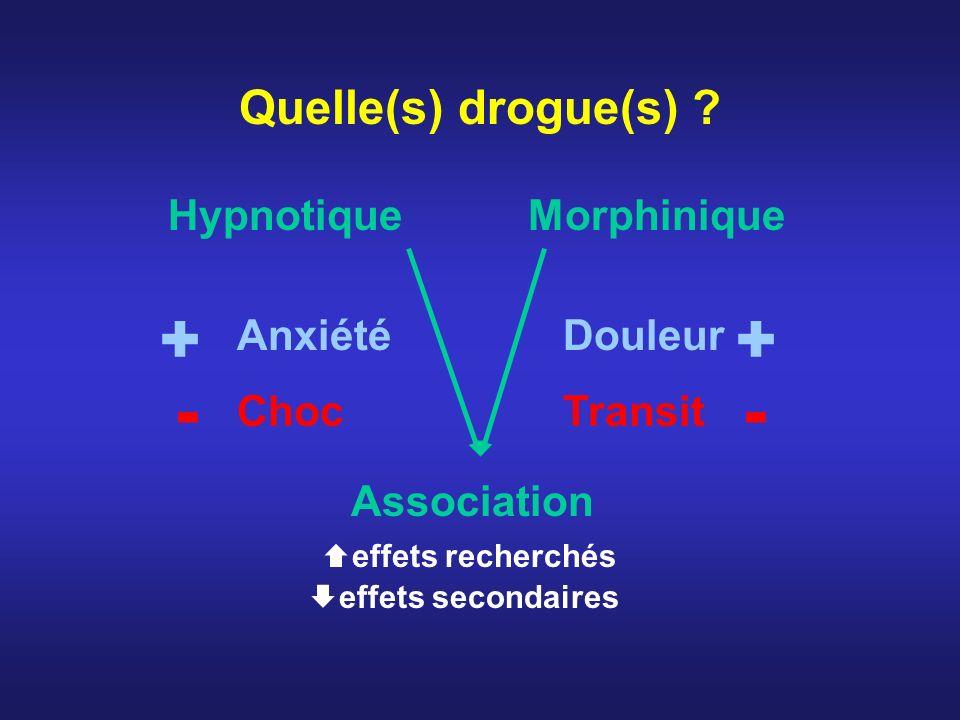 Quelle(s) drogue(s) ? HypnotiqueMorphinique Anxiété Douleur Choc Transit Association effets recherchés effets secondaires + - + -