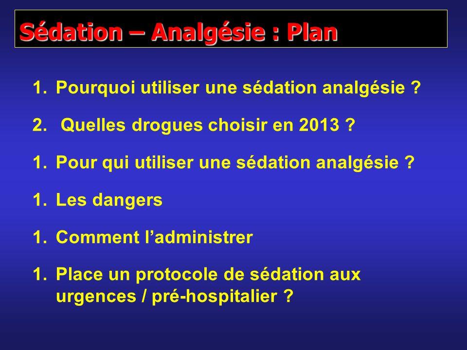 1.Pourquoi utiliser une sédation analgésie ? 2. Quelles drogues choisir en 2013 ? 1.Pour qui utiliser une sédation analgésie ? 1.Les dangers 1.Comment