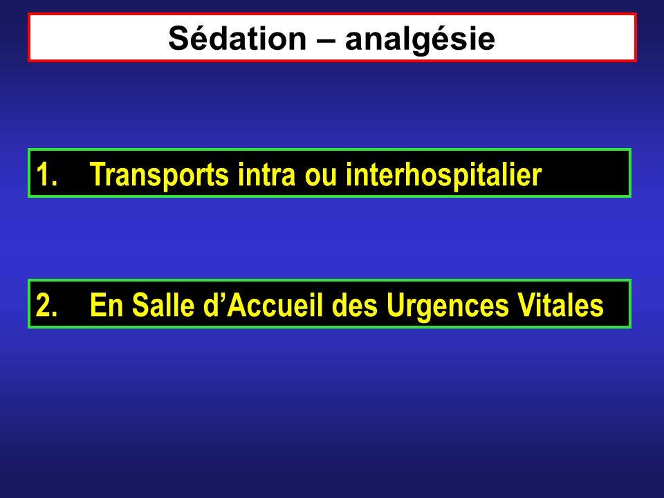 Sédation – analgésie 1.Transports intra ou interhospitalier 2.En Salle dAccueil des Urgences Vitales