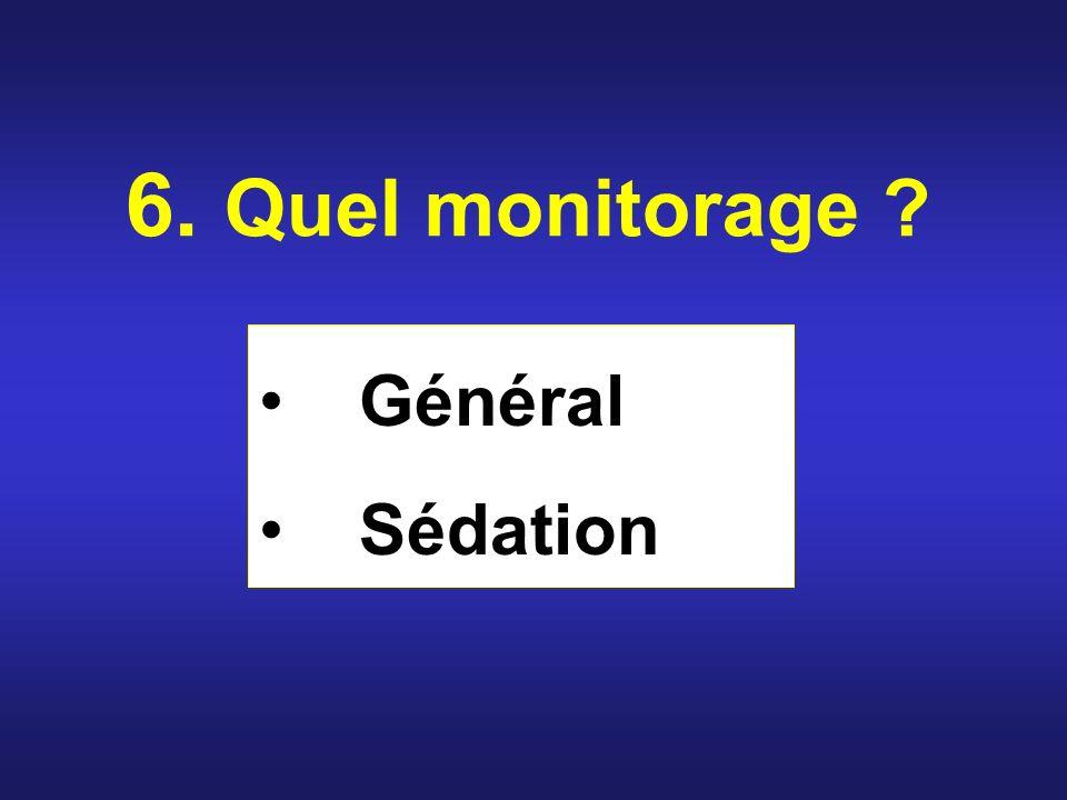 6. Quel monitorage ? Général Sédation