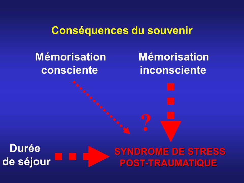 Conséquences du souvenir Mémorisation consciente inconsciente SYNDROME DE STRESS POST-TRAUMATIQUE POST-TRAUMATIQUE ? Durée de séjour