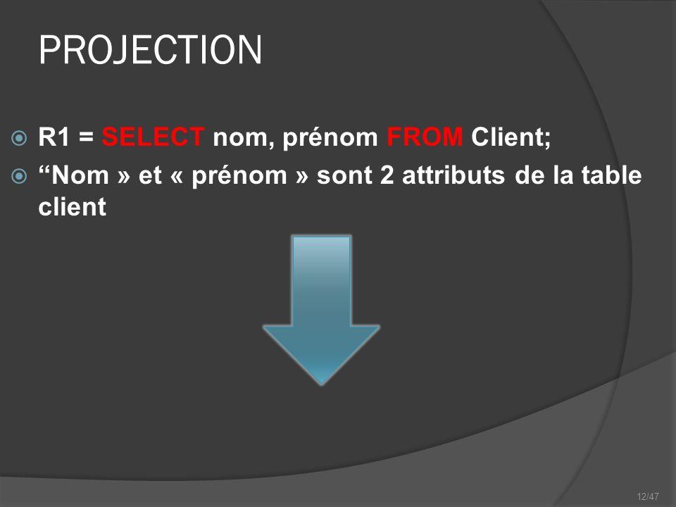 12/47 PROJECTION R1 = SELECT nom, prénom FROM Client; Nom » et « prénom » sont 2 attributs de la table client