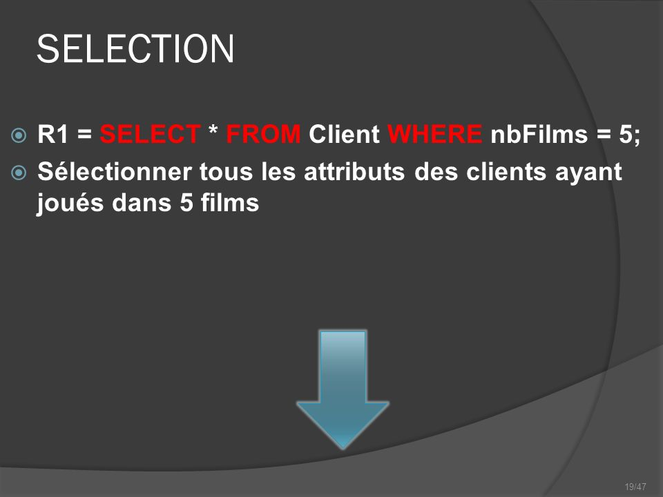 19/47 SELECTION R1 = SELECT * FROM Client WHERE nbFilms = 5; Sélectionner tous les attributs des clients ayant joués dans 5 films