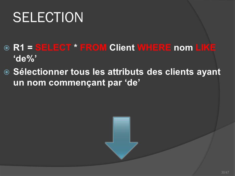 30/47 SELECTION R1 = SELECT * FROM Client WHERE nom LIKEde% Sélectionner tous les attributs des clients ayant un nom commençant par de