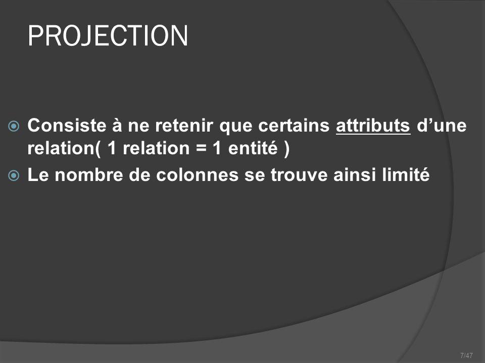 7/47 PROJECTION Consiste à ne retenir que certains attributs dune relation( 1 relation = 1 entité ) Le nombre de colonnes se trouve ainsi limité