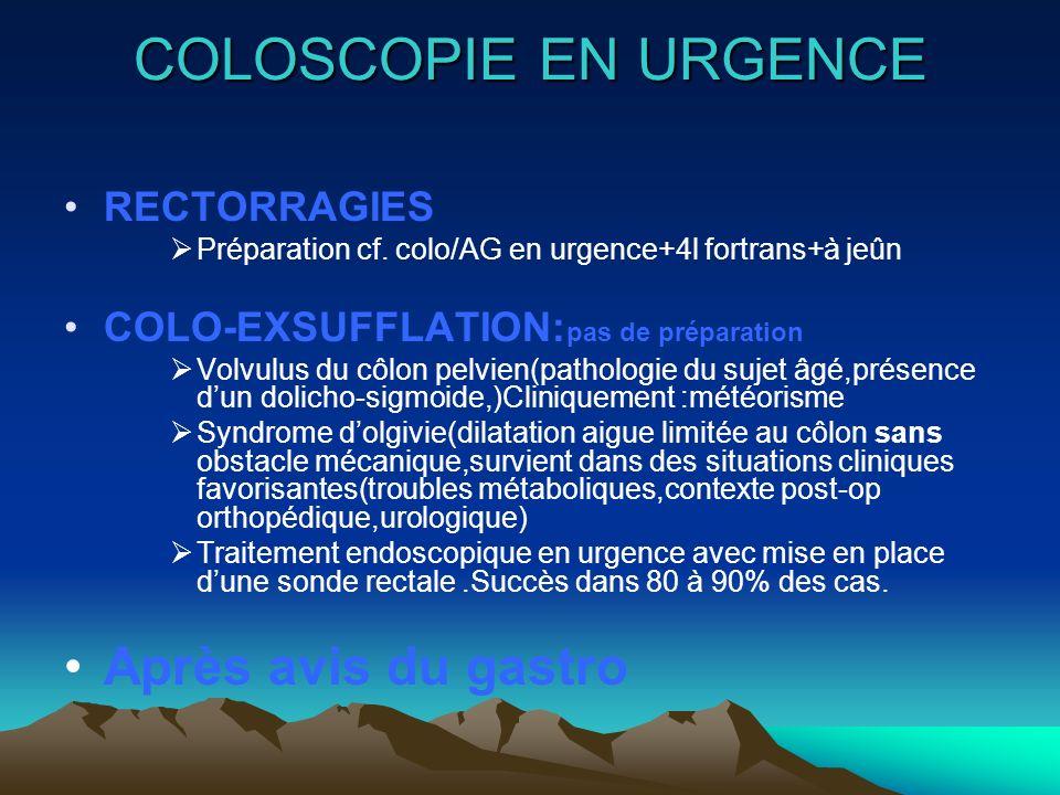 COLOSCOPIE EN URGENCE RECTORRAGIES Préparation cf. colo/AG en urgence+4l fortrans+à jeûn COLO-EXSUFFLATION: pas de préparation Volvulus du côlon pelvi