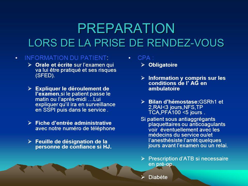 PREPARATION LORS DE LA PRISE DE RENDEZ-VOUS INFORMATION DU PATIENT: Orale et écrite sur lexamen qui va lui être pratiqué et ses risques (SFED). Expliq