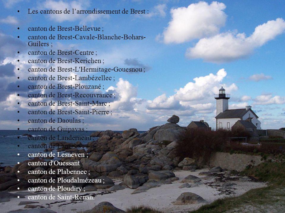Les cantons de larrondissement de Brest : canton de Brest-Bellevue ; canton de Brest-Cavale-Blanche-Bohars- Guilers ; canton de Brest-Centre ; canton