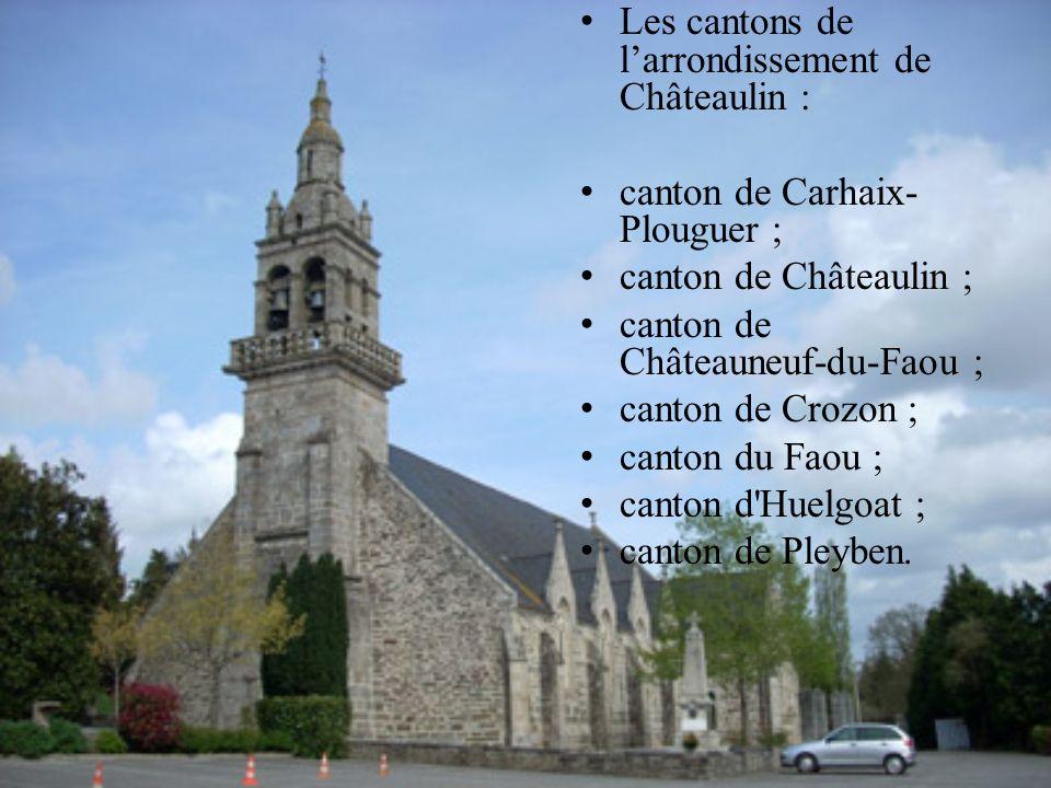 Les cantons de larrondissement de Châteaulin : canton de Carhaix- Plouguer ; canton de Châteaulin ; canton de Châteauneuf-du-Faou ; canton de Crozon ;
