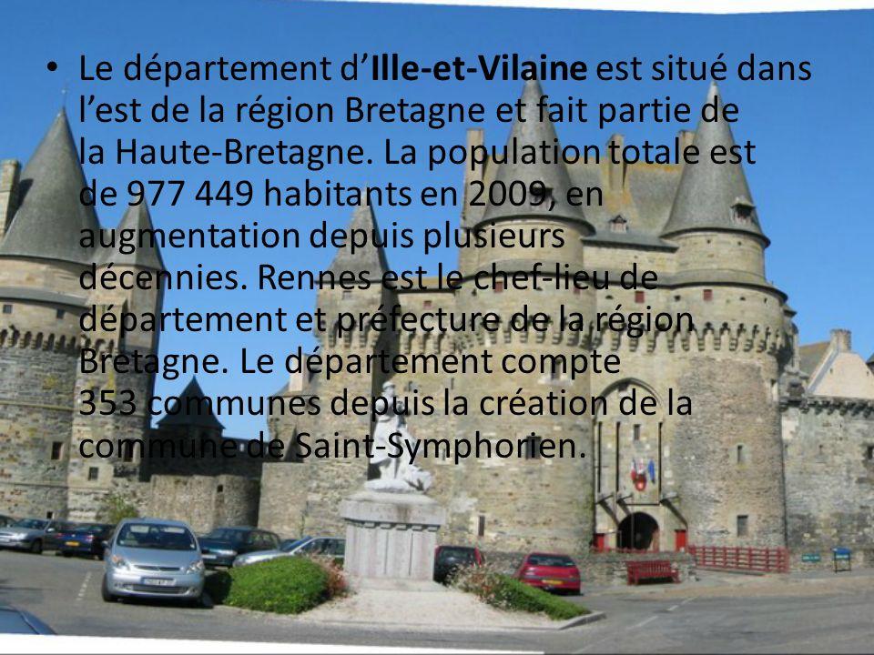 Le département dIlle-et-Vilaine est situé dans lest de la région Bretagne et fait partie de la Haute-Bretagne. La population totale est de 977 449 hab