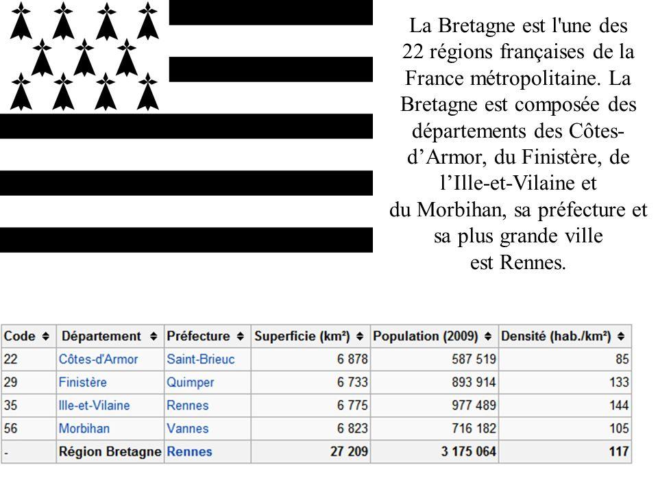 La Bretagne est l'une des 22 régions françaises de la France métropolitaine. La Bretagne est composée des départements des Côtes- dArmor, du Finistère