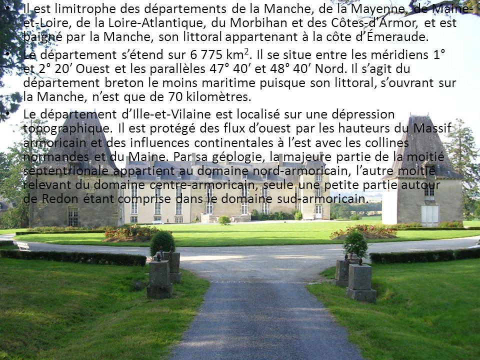 Il est limitrophe des départements de la Manche, de la Mayenne, de Maine- et-Loire, de la Loire-Atlantique, du Morbihan et des Côtes-d'Armor, et est b