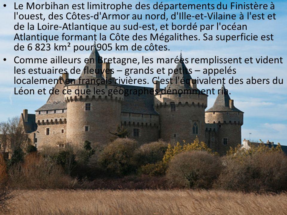 Le Morbihan est limitrophe des départements du Finistère à l'ouest, des Côtes-d'Armor au nord, d'Ille-et-Vilaine à l'est et de la Loire-Atlantique au