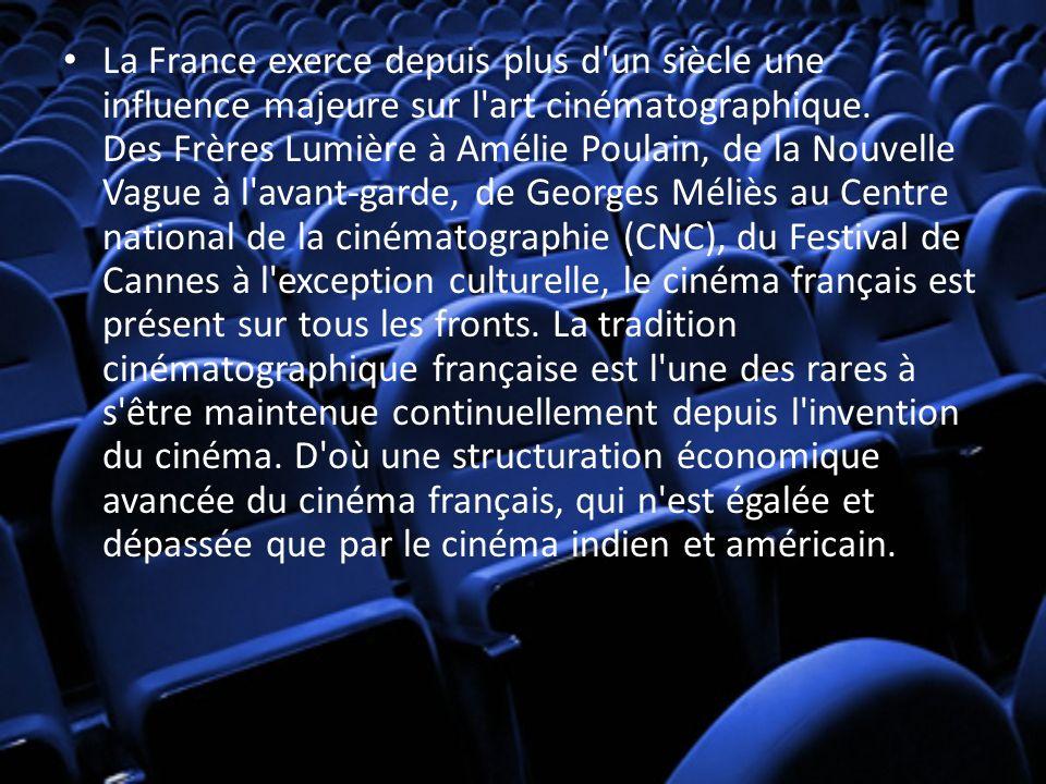 La France exerce depuis plus d'un siècle une influence majeure sur l'art cinématographique. Des Frères Lumière à Amélie Poulain, de la Nouvelle Vague