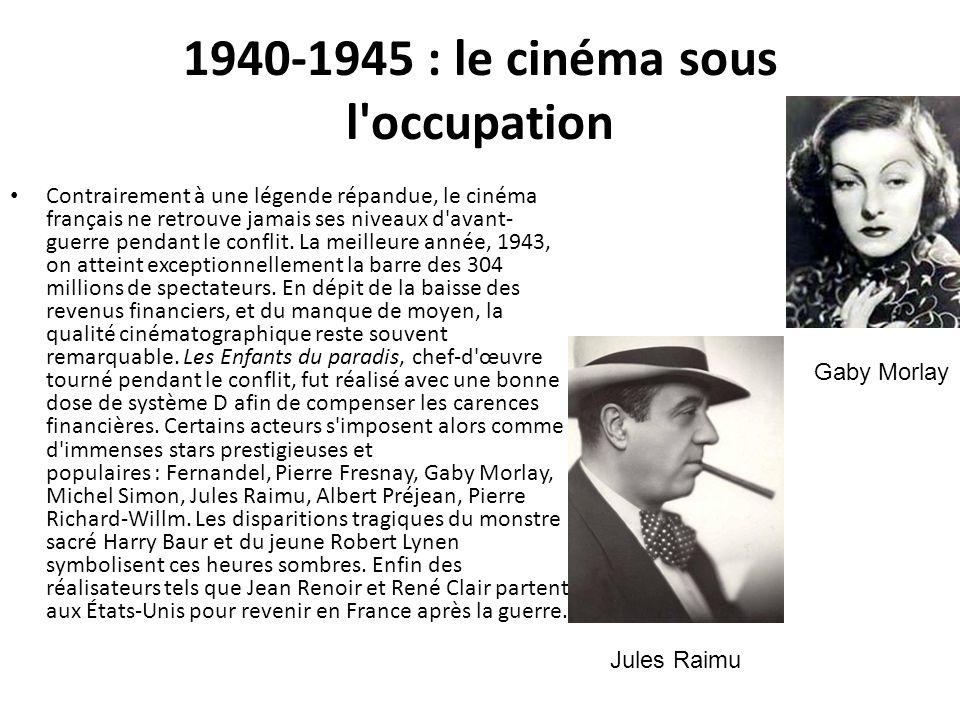 1940-1945 : le cinéma sous l'occupation Contrairement à une légende répandue, le cinéma français ne retrouve jamais ses niveaux d'avant- guerre pendan