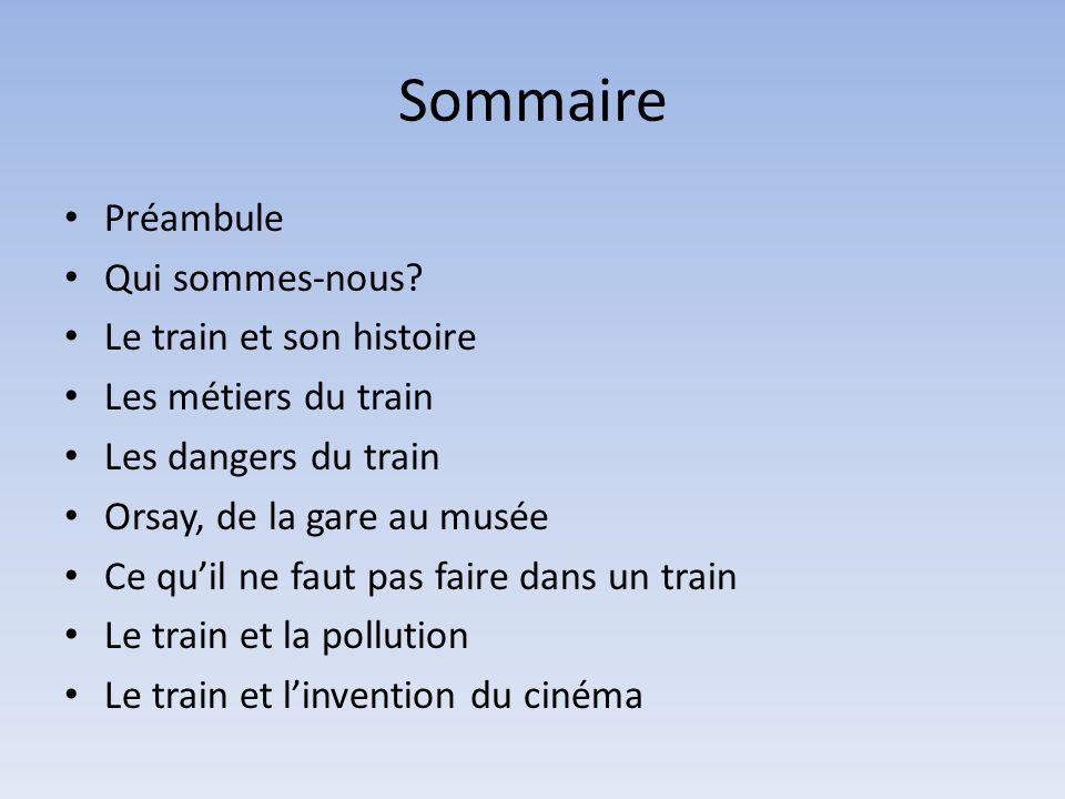 Sommaire Préambule Qui sommes-nous? Le train et son histoire Les métiers du train Les dangers du train Orsay, de la gare au musée Ce quil ne faut pas