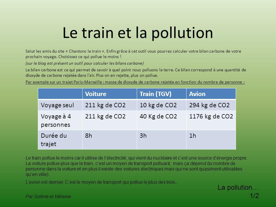Le train et la pollution Salut les amis du site « Chantons le train ». Enfin grâce à cet outil vous pourrez calculer votre bilan carbone de votre proc
