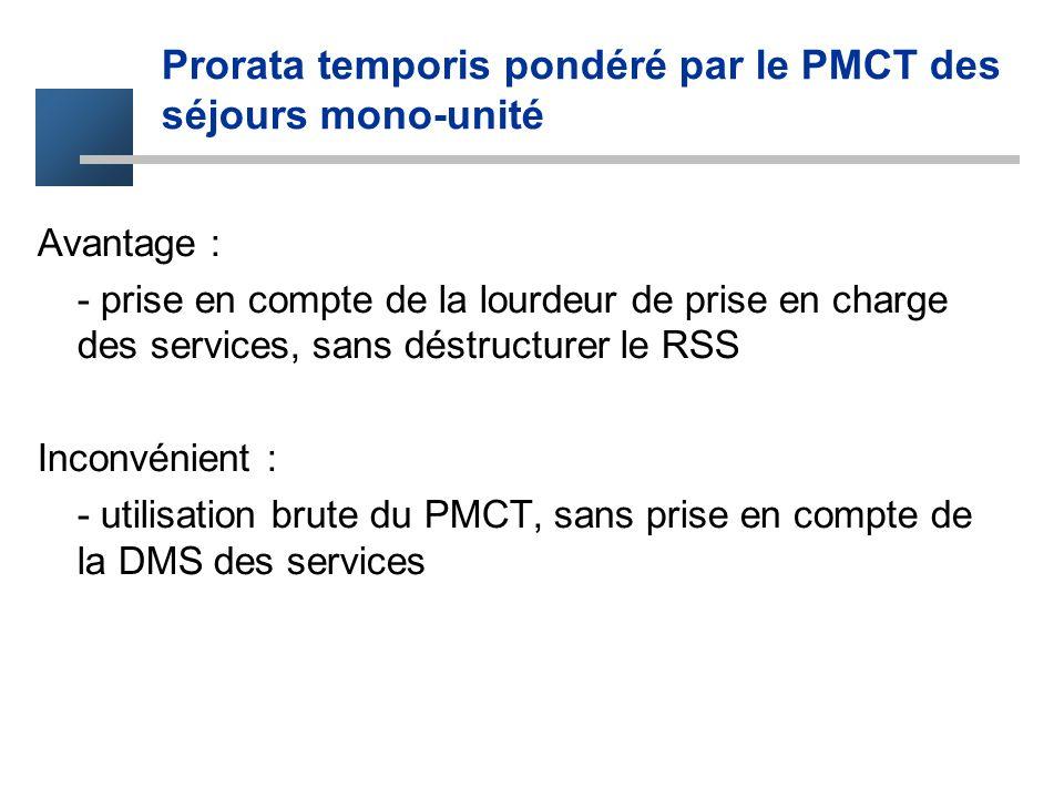 Prorata temporis pondéré par le PMCT des séjours mono-unité Avantage : - prise en compte de la lourdeur de prise en charge des services, sans déstruct