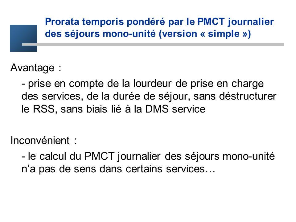 Prorata temporis pondéré par le PMCT journalier des séjours mono-unité (version « simple ») Avantage : - prise en compte de la lourdeur de prise en ch