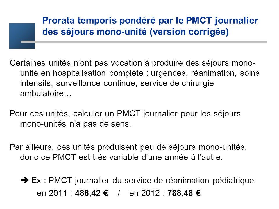Prorata temporis pondéré par le PMCT journalier des séjours mono-unité (version corrigée) Certaines unités nont pas vocation à produire des séjours mo