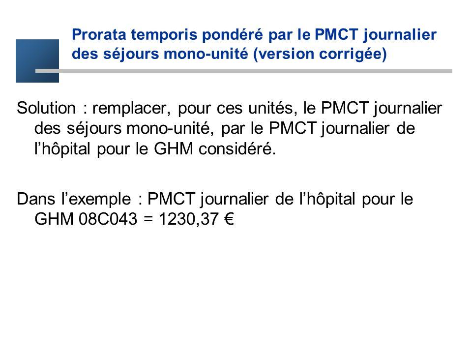 Solution : remplacer, pour ces unités, le PMCT journalier des séjours mono-unité, par le PMCT journalier de lhôpital pour le GHM considéré. Dans lexem