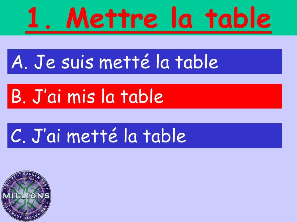 1. Mettre la table A. Je suis metté la table B. Jai mis la table C. Jai metté la table