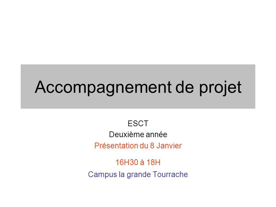 Accompagnement de projet ESCT Deuxième année Présentation du 8 Janvier 16H30 à 18H Campus la grande Tourrache