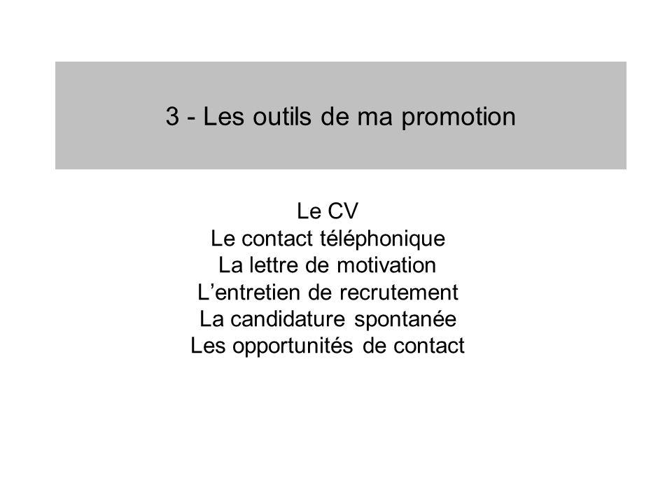 3 - Les outils de ma promotion Le CV Le contact téléphonique La lettre de motivation Lentretien de recrutement La candidature spontanée Les opportunit